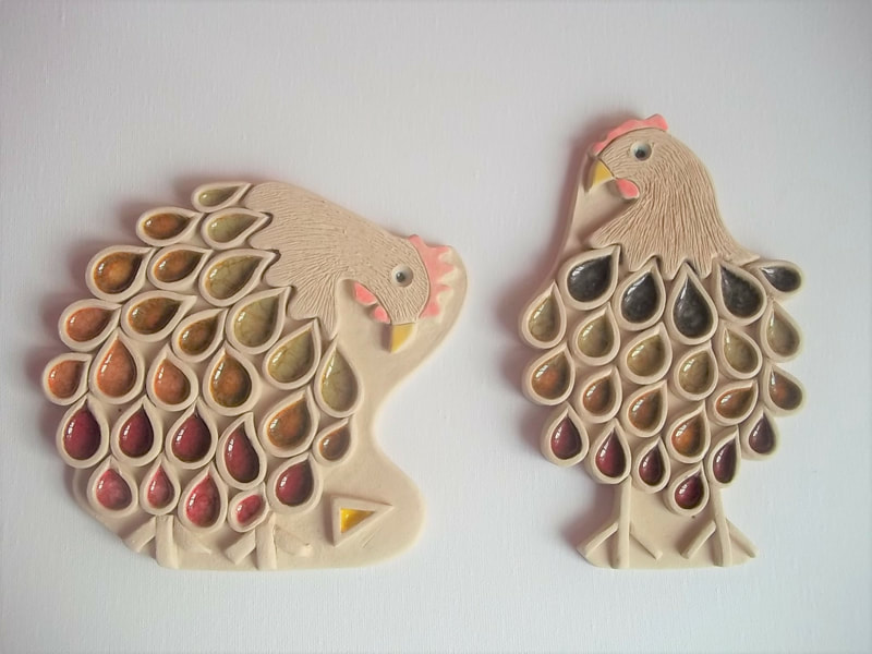 The pieces are again made from clay and different coloured granulated glass.  There is a story behind these chickens. They are called Cilla and Sally and they love cheese, but Cilla always gets there first , hence she is the fattest of the two !!! They live further up the lane from where I live.